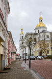 Krylov Street and view of the Holy Assumption Cathedral in Viteb Royalty Free Stock Photo