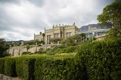 Krym, Yalta 2018 Vorontsov`s Palace. Vorontsov Palace is located in the Crimea city of Yalta. Rich in its history and unusually beautiful garden stock photo