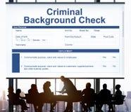 Kryminalny sprawdzenia pochodzenia ubezpieczenia formy pojęcie zdjęcia stock