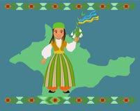 Krymska Tatar dziewczyna ?yczy Szcz??liwego nowego roku dzwoni?cego Novruz lub Navruz zdjęcia stock