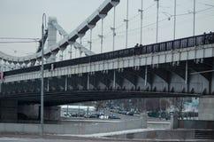 Krymskiy bridge. In Gorky park in Moscow Stock Image