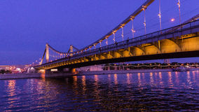 The Krymskiy bridge in Moscow. In the evening Royalty Free Stock Image