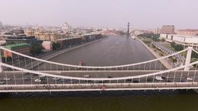 Krymsky bridge aerial view car traffic stock footage
