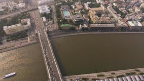 Krymsky bridge aerial view car traffic stock video