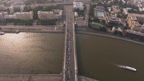 Krymsky bridge aerial view car traffic stock video footage