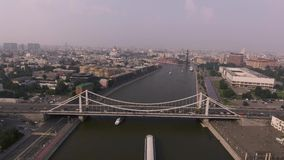 Krymsky bridge aerial view car traffic stock video footage