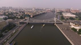 Krymsky bridge aerial view car traffic stock video