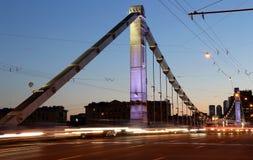 Krymsky Bridge or Crimean Bridge steel suspension bridge, Moscow ...
