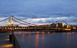 Krymsky Bridge or Crimean Bridge at night Stock Photography