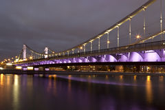 Krymsky Bridge or Crimean Bridge at night Royalty Free Stock Photography