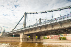 Krymsky Bridge at Moscow river in summer Royalty Free Stock Photo