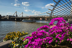 Krymsky Bridge is steel suspension bridge in Moscow Russia. Stock Image