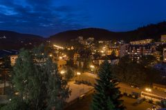 KRYNICA POLAND 14 JULY 2017: Late night Polish city Krynica landscape, Poland. KRYNICA, POLAND 14 JULY 2017: Late night Polish city Krynica landscape, Poland royalty free stock photo