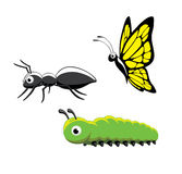 Kryp Ant Caterpillar Butterfly Vector Illustration Royaltyfri Bild