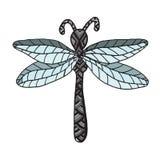 Krypdrake-fluga på den vita bakgrunden vektor illustrationer