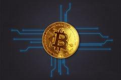 Krypto货币作为3D墙纸、介绍屏幕等等的Bitcoin背景 图库摄影