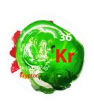 Krypton icon - Watercolor or brush effect - Badge style stock image
