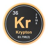 Krypton Kr chemical element. 3D rendering. Isolated on white background royalty free illustration