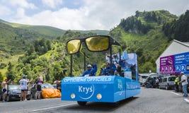 Krys Caravan- Tour de France 2014. Col du Tourmalet, France - July 24,2014: Krys caravan during the passing of the Publicity Caravan on the road to Col de royalty free stock photography