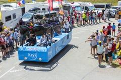 Krys Vehicle in den Alpen - Tour de France 2015 Lizenzfreies Stockbild