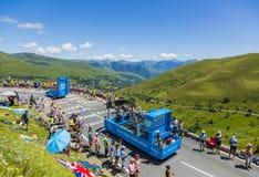 Krys Vehicles - Tour de France 2014. Col de Peyresourde,France- July 23, 2014: Krys vehicles during the passing of the Publicity Caravan on the road to Col de Royalty Free Stock Photography