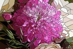 Krysantemumblomman i stilen av mosaiken royaltyfri illustrationer