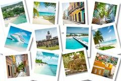 Kryssa omkring minnen på polaroidfoto - karibiska semestrar för sommar royaltyfri bild