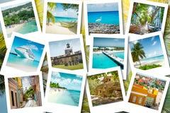 Kryssa omkring minnen på polaroidfoto - karibiska semestrar för sommar Arkivbild