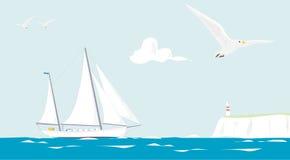 kryssa omkring seglingyacht stock illustrationer