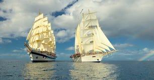 Kryssning på ett seglingskepp segling Lyxig yacht Royaltyfria Bilder