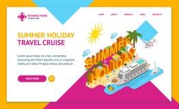 Kryssning sänder isometrisk sikt för lopp- och för webbsida för turismbegreppslandning mall 3d vektor royaltyfri illustrationer