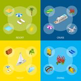 Kryssning sänder lopp och isometrisk sikt för turismbanerbegrepp 3d vektor vektor illustrationer