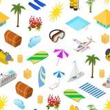 Kryssning sänder lopp och sikt för bakgrund 3d för modell för turismbegrepp sömlös isometrisk vektor stock illustrationer