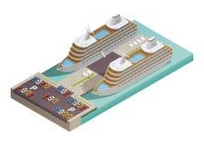 Kryssningeyeliner i den isometriska hamnen royaltyfri illustrationer