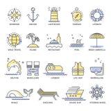 Kryssninglopp eller linje symboler för sommarsemester Arkivfoto