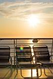 Kryssningshipdäck på solnedgången Fotografering för Bildbyråer