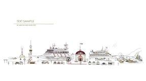 Kryssningskepp i porten, stadssamling, loppbegrepp royaltyfri illustrationer