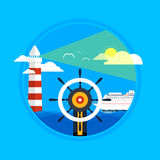 Kryssningskepp och blått vatten för frikänd Vattenturism Royaltyfri Bild