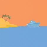 Kryssningskepp, tropisk ö och blåtthav Royaltyfri Fotografi