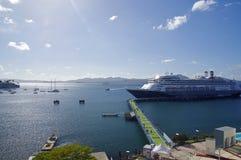 Kryssningskeppet Rotterdam anslöt i porten av Fort-de-France i Martinique Rotterdam Royaltyfri Fotografi