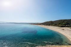 Krystaliczne turkusowe plaże Grecja Sithonia zdjęcia royalty free