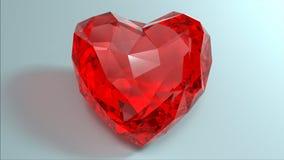 Krystaliczny czerwony serce Fotografia Stock