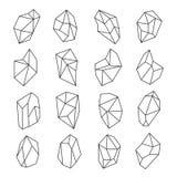 Krystaliczny kształta konturu set ilustracji
