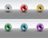 Krystaliczny kula ziemska set Zdjęcie Stock