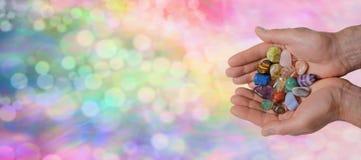 Krystaliczny uzdrowiciel strony internetowej sztandar zdjęcia royalty free