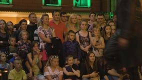 Krystian Minda Sword Swallower Show in Lublin stock photo