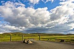 Krysuvik geothermal area landscape near hot springs Stock Image