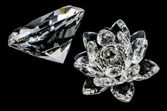 Kryształ kwiat i diament Zdjęcia Royalty Free