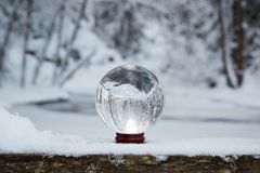 Kryształowa kula w zimie Zdjęcie Royalty Free