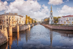 Kryukov canal, bell tower  of St. Nicholas Naval Cathedral, St. Royalty Free Stock Photos